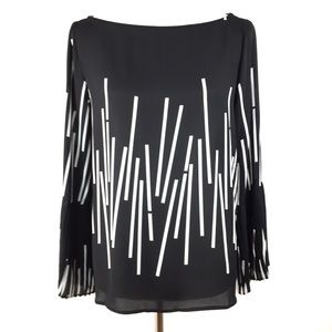 Ann Taylor Factory Black Pleated Bell Sleeve Top